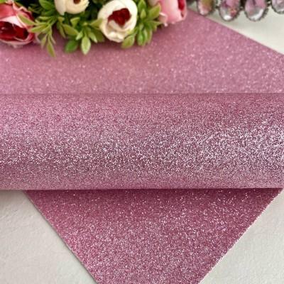 Декоративный кожзам мелкий глиттер, розовый