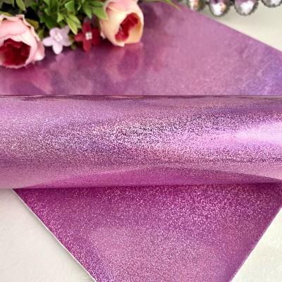 Кожзам голографик с мелкими блестками, розовый
