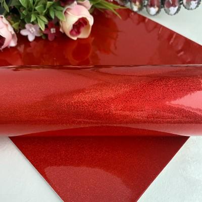 Кожзам голографик с мелкими блестками, красный
