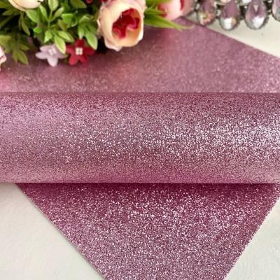 Декоративный кожзам с глиттером, розовый (1)