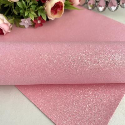 Декоративный кожзам с глиттером, нежно-розовый
