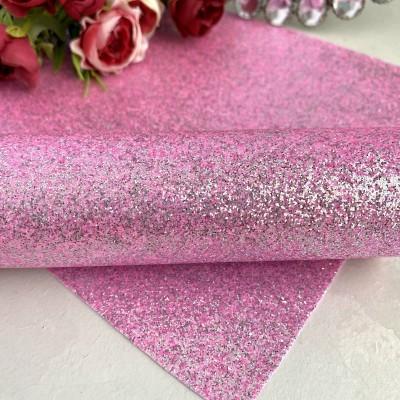 Декоративный кожзам с перламутровыми блестками, розовый