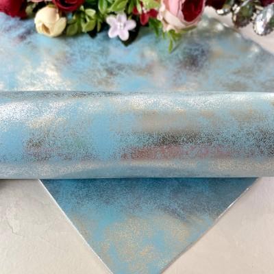 Кожзам с напылением, голубой/серебро
