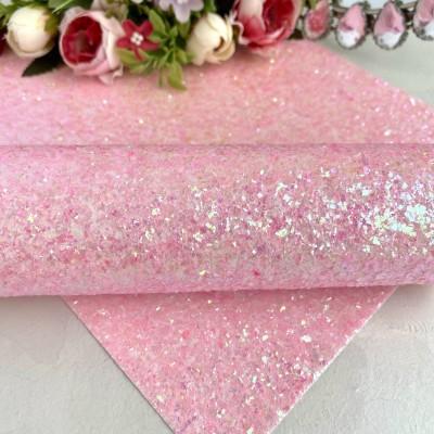 """Декоративный кожзам """"Битое стекло"""", светло-розовый"""