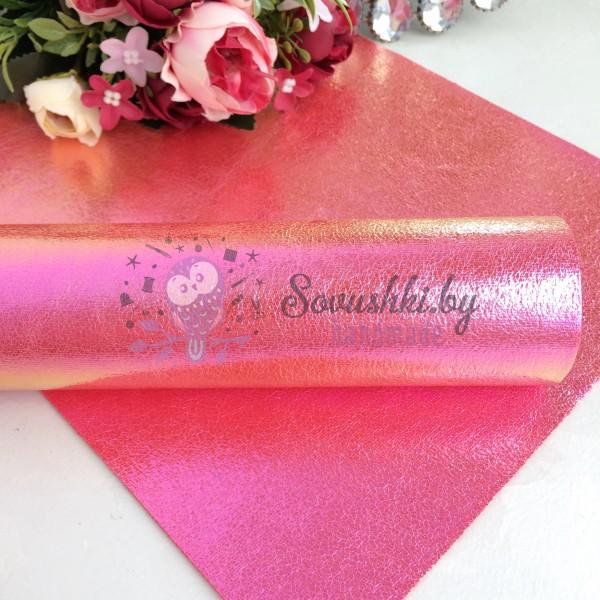 Декоративный кожзам Хамелеон, ярко-розовый