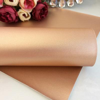 Декоративный кожзам перламутровый, розовое золото