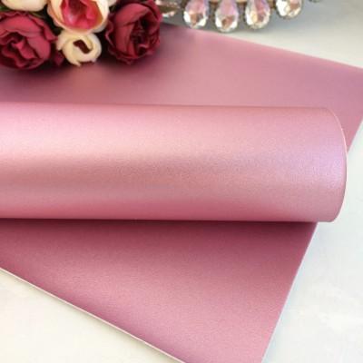 Декоративный кожзам перламутровый, светло-розовый