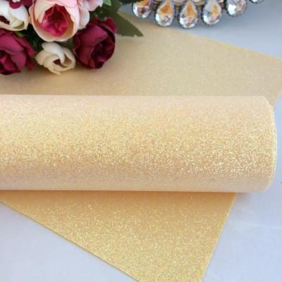 Декоративный кожзам с перламутровыми блестками, светло-желтый