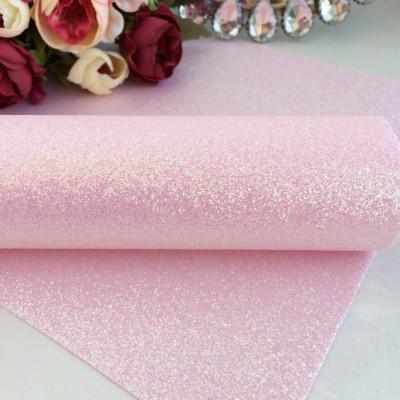 Декоративный кожзам с перламутровыми блестками, светло-розовый
