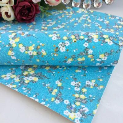 Декоративный кожзам Цветы с блестками и пайетками, голубой