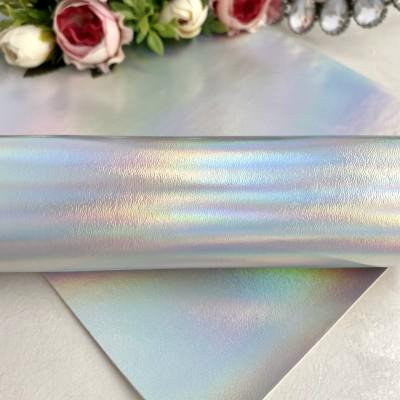 Декоративный кожзам серебро/хамелеон