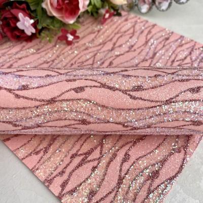 """Декоративный кожзам с блестками узор """"Волна"""", нежно-розовый"""