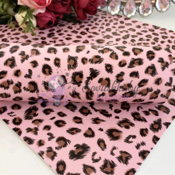 """Декоративный кожзам """"Леопард"""", розовый"""
