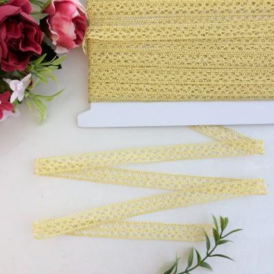 Кружево вязаное 1,2 см с люрексом, светлое золото