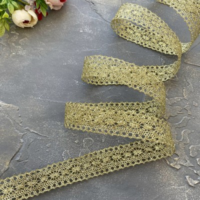 Кружево вязаное 2,5 см с люрексом, золото