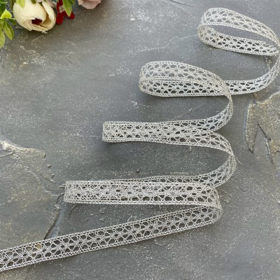 Кружево вязаное 1,2 см с люрексом, серебро