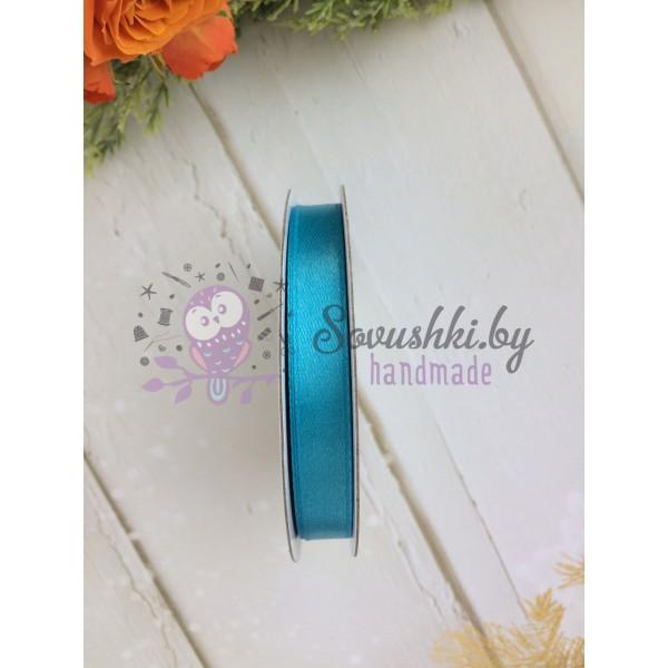 Лента атласная 10 мм, ярко-голубой