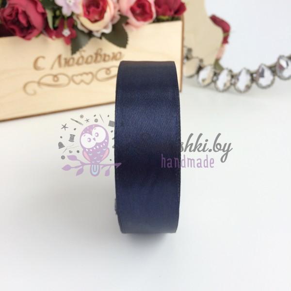 Лента атласная 25 мм, темно-темно-синий
