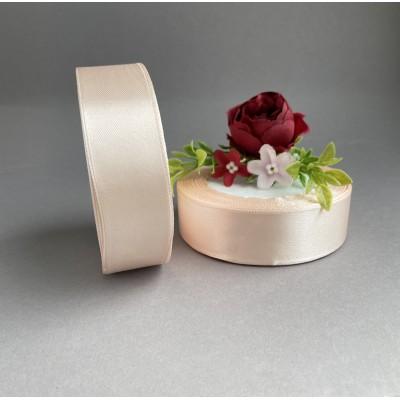 Лента атласная 25 мм, розовый беж