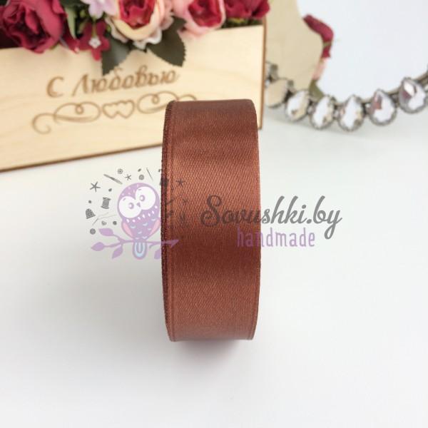 Лента атласная 25 мм, шоколадный