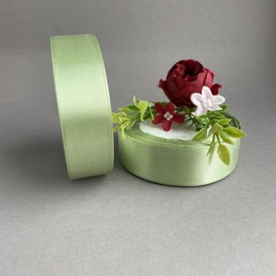 Лента атласная 25 мм, пепельно-зеленый