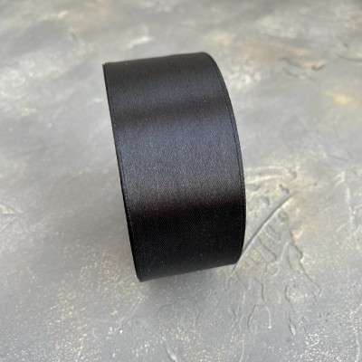 Лента атласная 40 мм, черный
