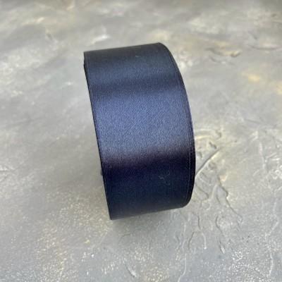 Лента атласная 40 мм, темно-темно-синий