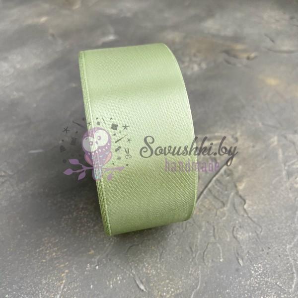 Лента атласная 40 мм, оливковый