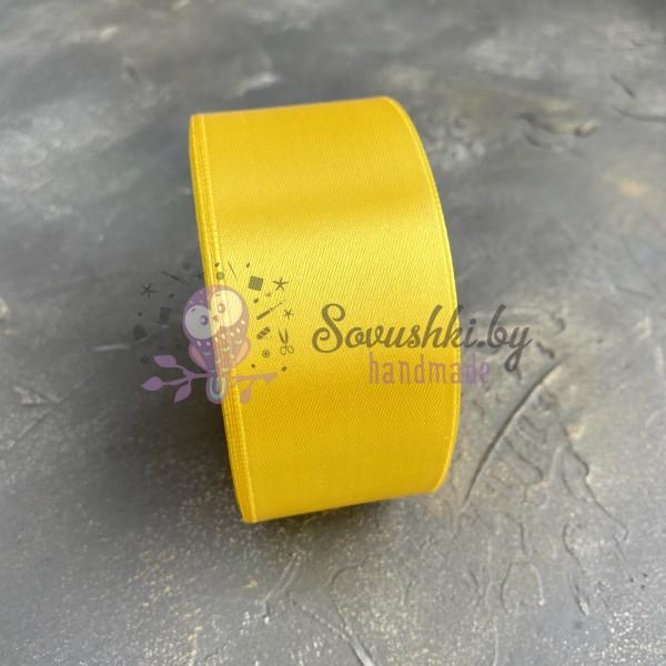 Лента атласная 40 мм, желтый (132)