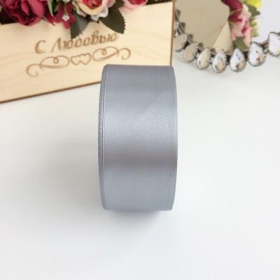 Лента атласная 40 мм, серый