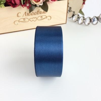 Лента атласная 40 мм, темно-синий
