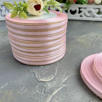 Лента атласная 6 мм с люрексом, розовый/золото