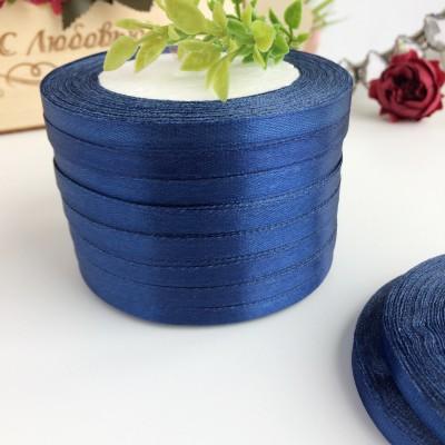 Лента атласная 6 мм, темно-синий