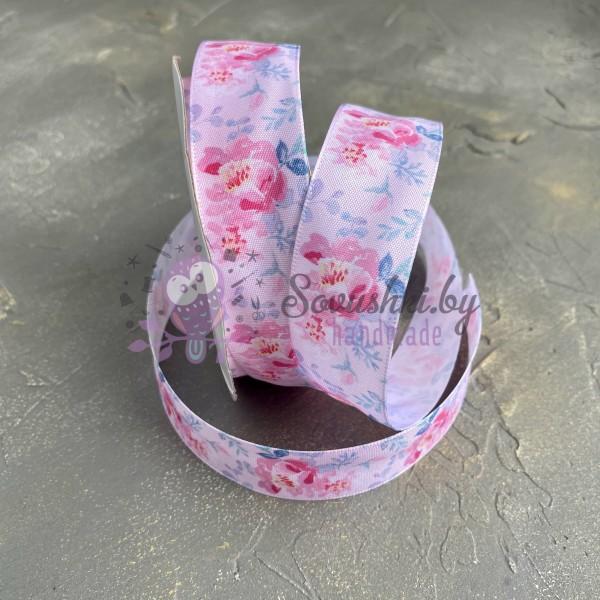 """Лента сатиновая 25 мм с рисунком """"Пионы"""" розовая"""