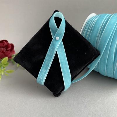 Лента бархатная 10 мм, светло-голубой