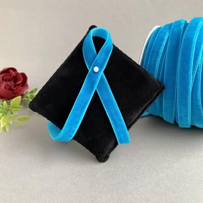 Лента бархатная 10 мм, темно-голубой