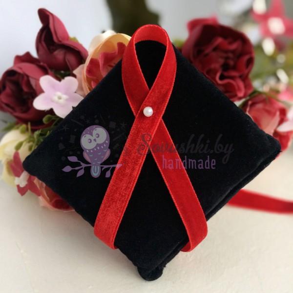 Лента бархатная 10 мм красная