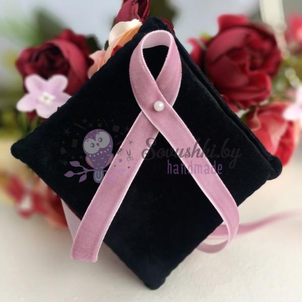Лента бархатная 10 мм пудрово-розовая