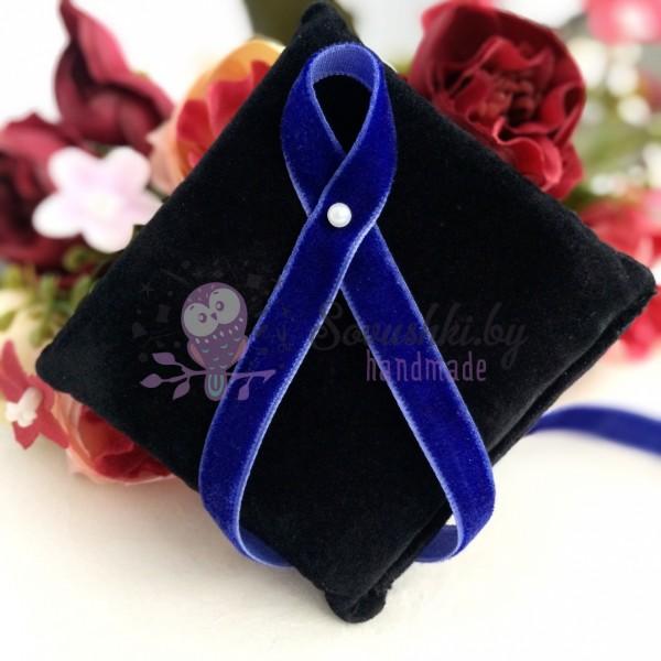 Лента бархатная 10 мм, темно-синяя