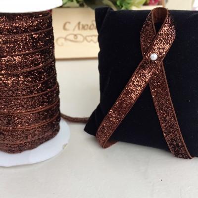 Лента бархатная с люрексом 10 мм, шоколадный
