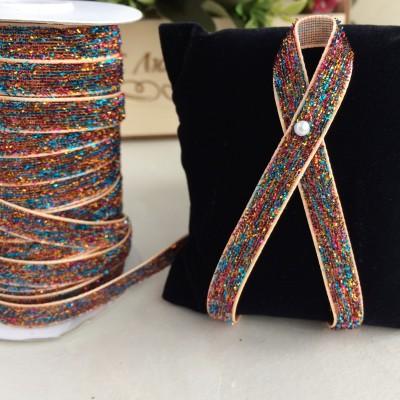 Лента бархатная с люрексом 10 мм, разноцветный