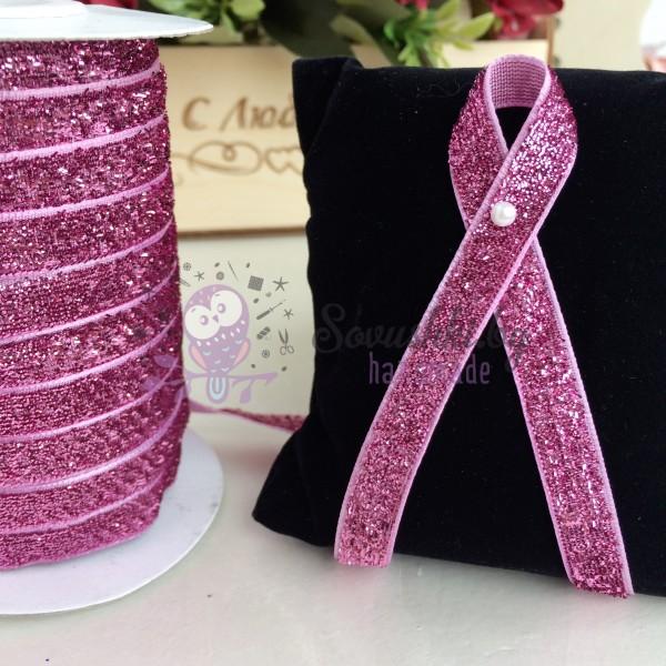 Лента бархатная с люрексом 10 мм, розовый