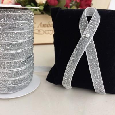 Лента бархатная с люрексом 10 мм, белый/серебро