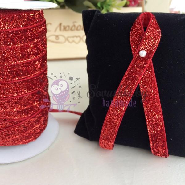 Лента бархатная с люрексом 10 мм, красный
