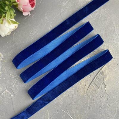 Лента бархатная 15 мм, темно-синий