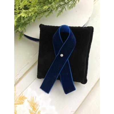 Лента бархатная 15 мм, темно-синяя