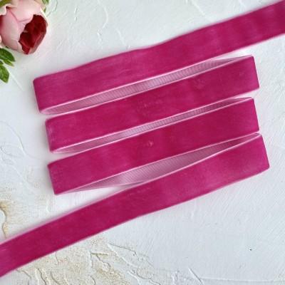 Лента бархатная 25 мм, ярко-розовый (38)