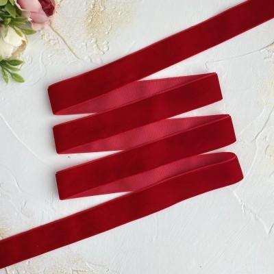 Лента бархатная 25 мм, ярко-красный