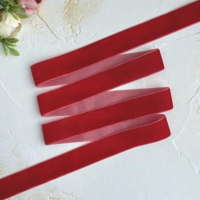 Лента бархатная 25 мм, светло-красный