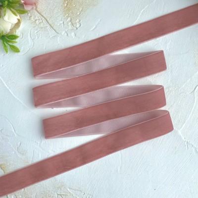 Лента бархатная 25 мм, пепельно-розовый